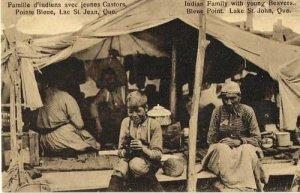 postkarte-indianische-famile-mit-jungen-bibern